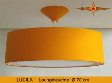 Grosse Loungeleuchte gelb LUCILA Ø70 cm Hängelampe mit Diffusor Sonnengelb