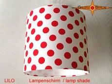 Lampenschirm LILO Rot Weiss gepunktet D 25 cm