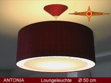 Pendelleuchte Bordo ANTONIA Ø 50 cm Seidenlampe aus Satinseide