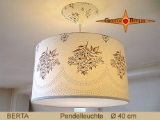 Geblümte Lampe BERTA Ø 40 cm Pendellampe Landhausstil Retrodesign