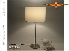 Weisse Tischlampe BIANCA Tischleuchte Leinen Weiss