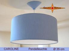 Blaue Pendellampe CAROLINE Ø35 cm mit Diffusor blaues Leinen