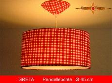 Pendelleuchte Rot Weiss kariert GRETA Ø 45 cm Hängelampe