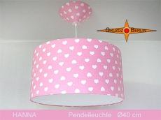 Rosa Kinderlampe mit Herzen HANNA Ø40 cm