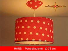 Hängelampe rot weiss gepunktet HANS Ø35 cm Kinderlampe