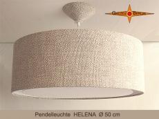 Pendelleuchte aus Bauernleinen HELENA Ø50 cm Hängelampe mit Diffusor