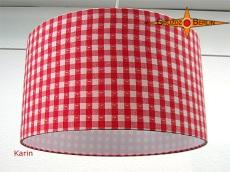 Rot weiss karierter Lampenschirm mit Herzen KARIN Ø35 cm