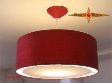 Rote Pendelleuchte aus edler Seide KATHARINA Ø60 cm mit Diffusor