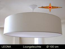 Grosse Loungeleuchte LEONA Ø100 cm beige Pendellampe