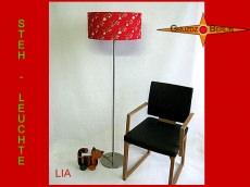 Rote Stehlampe mit Blumen LIA Stehleuchte