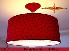 Gepunktete Hängelampe LULU Ø 50 cm Rot Schwarze Leuchte