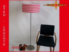 Stehlampe Rot weiss gestreift MARIE mit zartem Blütenmuster