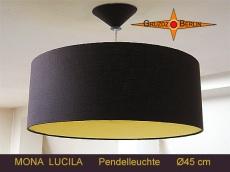 Braune Hängelampe mit gelbem Diffusor MONA LUCILA Ø45 cm