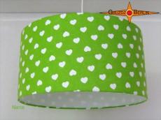 Grüner Kinderlampenschirm NANA Ø40 cm mit Herzen
