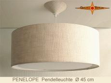 Hängelampe aus Leinen PENELOPE Ø45 cm mit Lichtrand Diffusor