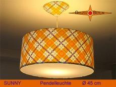 Karierte Lampe im Retrodesign SUNNY Ø45 cm mit Prilblumen