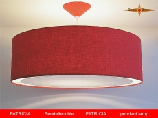 Rote Lampe PATRICIA Ø 60 cm aus Leinen mit Lichtrand Diffusor