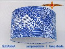 Blauer Lampenschirm in Vintage Design SUSANNA Ø35 cm mit Prilblumen