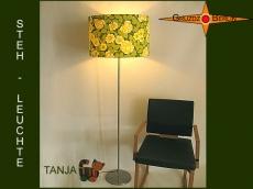 Grüne Stehlampe TANJA im Vintagedesign mit Blüten
