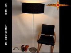 Elegante Stehlampe UTA schwarze Stehleuchte aus Leinen