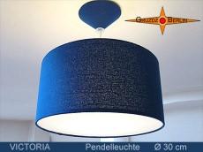 Blaue Hängelampe aus Seide VICTORIA  Ø30 cm mit Diffusor