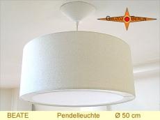 Beige Hängelampe Naturseide BEATE Ø50 cm mit Lichtrand Diffusor