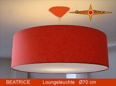 Orange Hängelampe aus Leinen BEATRICE Ø70 cm