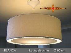 Weisse Hängelampe aus Damast BLANCA Ø 60 cm mit Lichtrand Diffusor