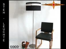Schwarz weisse Stehlampe COCO aus Leinen