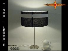 Schwarz Weisse Tischlampe COCO mit Knöpfen und Gitternetzgewebe