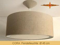 Große Lampe aus Naturleinen CORA Ø45 cm  mit Lichtrand Diffusor