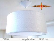 Weiße Hängelampe aus Satin Seide DIANA Ø50 cm mit Diffusor