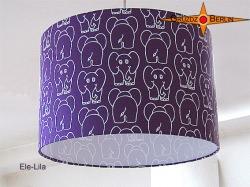 Kinderlampenschirm mit Elefanten auf LIla ELE LILA  Ø35 cm
