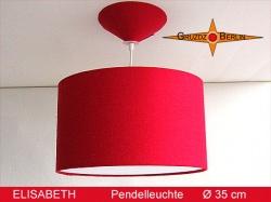 Rote Hängelampe ELISABETH aus Bourette Seide Ø35 cm mit Diffusor