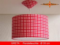 Rot Weiss karierte Lampe GRETA Ø35 cm mit Diffusor