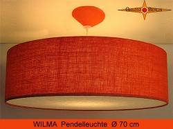 Grosse orange Lampe WILMA Ø 70 cm aus Jute mit Diffusor