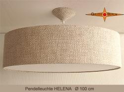 Grosse Hängelampe aus Naturleinen HELENA Ø100 cm mit Diffusor