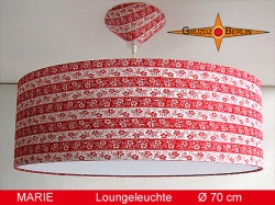 Grosse Vintage Lampe MARIE Ø70 cm aus Retrostoff