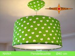 Grüne Lampe mit Herzen NANA Ø40 cm Kinderlampe