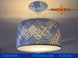 Blaue Lampe in Patchwork Design SUSANNA Ø35 cm mit Diffusor