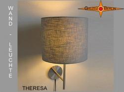 Wandlampe aus grauem Leinen THERESA