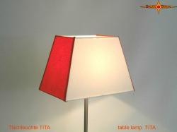 Eckige Tischlampe orange weiss TITA aus Leinen