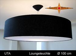 Riesige schwarze Lampe aus Leinen UTA Ø100 cm  mit Diffusor