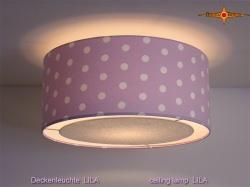 Lila Deckenlampe mit Punkten LILA Ø45 cm und Lichtrand Diffusor