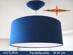 Blaue Lampe aus Seide VICTORIA Ø45 cm mit Diffusor