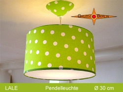 Grüne Lampe mit Punkten LALE Ø30 cm mit Diffusor