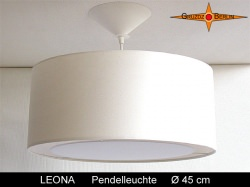 Hell beige Hängelampe LEONA Ø45 cm mit Lichtrand Diffusor