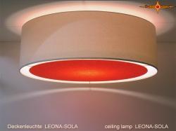 Helle Deckenlampe mit orangem Diffusor LEONA-SOLA  Ø60 cm