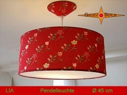 Rote Hängelampe mit Blumen LIA Ø45 cm mit Diffusor