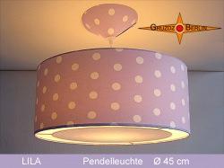 Lila Lampe mit Punkten und Lichtrand Diffusor LILA Ø45 cm